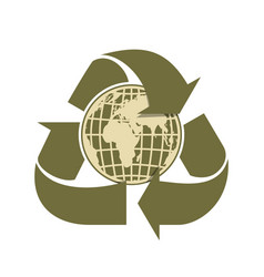 Recycling arrows and earth sign of recycling vector