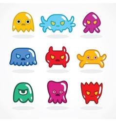 Retro video game monsters set vector