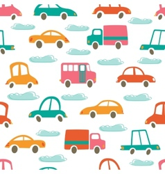 Colorful seamless pattern with cute cars and vector image