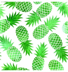 Vintage green watercolor pineapple seamless vector
