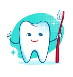 Cute healthy white shiny tooth character vector