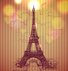 World famous landmark series eiffel tower paris vector