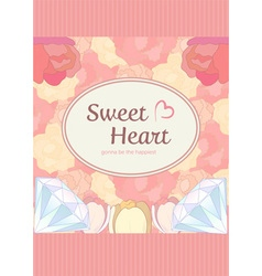 Elegant cute sweet pastel peach pink heart shape vector