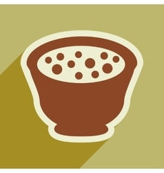 Flat with shadow icon miso soup on stylish vector