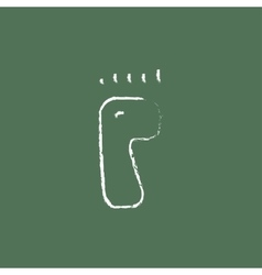 Footprint icon drawn in chalk vector