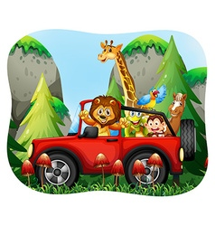 Wild animals riding on jeep vector