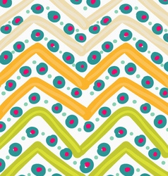 Painted orange and green zigzag with blue dots vector