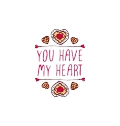 Handdrawn badge for saint valentines day vector