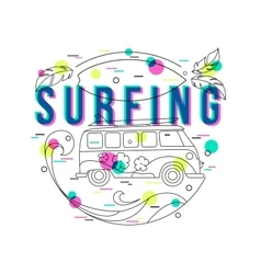 Summer surfing background with mini van and wave vector