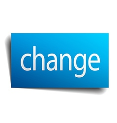 Change blue paper sign on white background vector