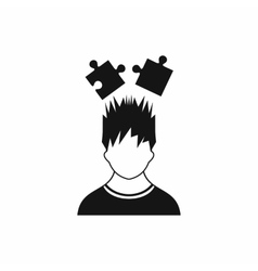 Man with puzzles over head icon simple style vector