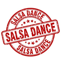 Salsa dance red grunge round vintage rubber stamp vector