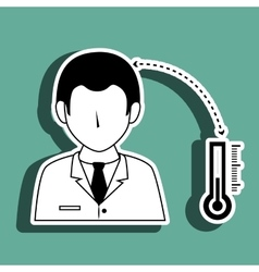 Doctor with thermometer isolated icon design vector