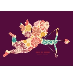Abstract decorative circles shooting cupid vector