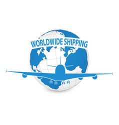 airplane air craft shipping around the world vector image vector image