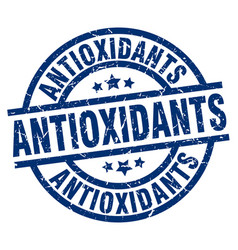 Antioxidants blue round grunge stamp vector