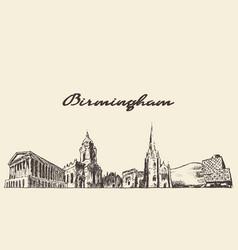 birmingham skyline west england draw sketch vector image