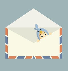 blue bird inside mail vector image vector image