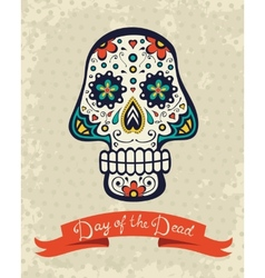 Card with sugar skull vector image
