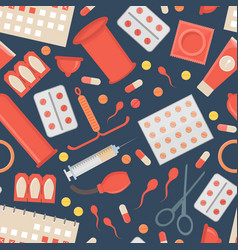 Cartoon contraception method background pattern vector