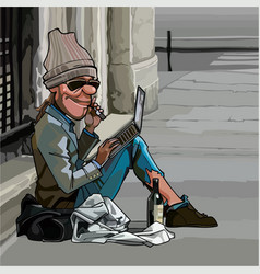 Cartoon homeless man sitting outdoors with laptop vector
