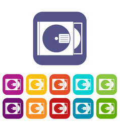 Cd box with disc icons set flat vector