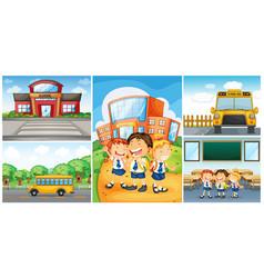 children and different school scenes vector image vector image