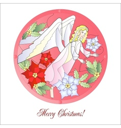 Christmas Vitrail Red with Angel vector image vector image