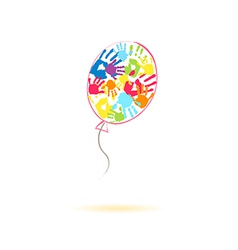 Colorful balloon of the handprints vector image