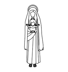 contour saint virgin mary with baby jesus vector image