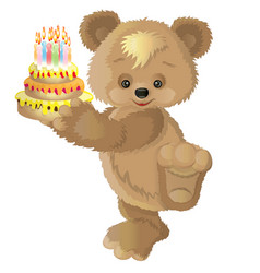 cute bear with cake vector image vector image