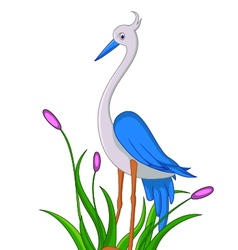cute little heron cartoon vector image