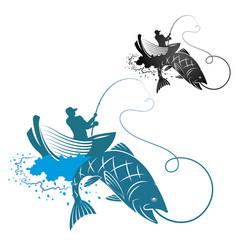 Fisherman is fishing vector