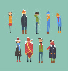 Flat set of cartoon freezing men and women vector