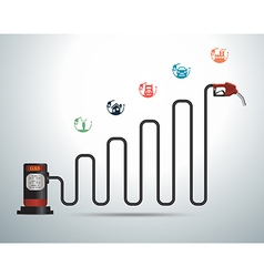 Gasoline pump nozzle with business graph vector image