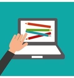 Hands holds laptop-colors online education vector