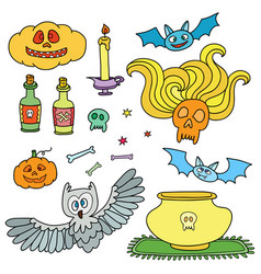 Happy halloween set with pumpkins ghosts spiders vector
