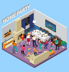 home party isometric composition vector image