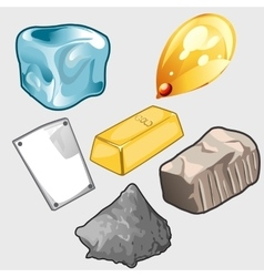 Icons set of gold ore and other materials vector image vector image