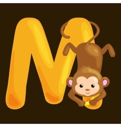 letter M with animal monkey for kids abc education vector image vector image