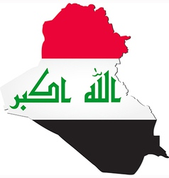 Map of Iraq with national flag vector image vector image