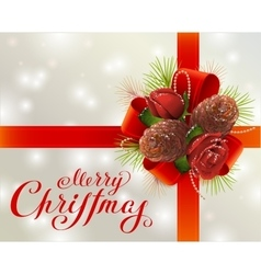 Merry christmas greeting card with red ribbon vector