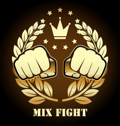 Mix fight competition emblem with two fists vector