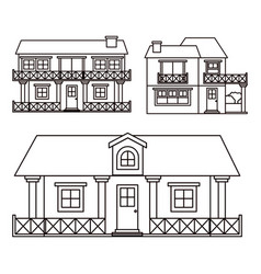 Monochrome background with set of country houses vector