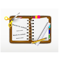 notepad for you design with ruler and scissors vector image