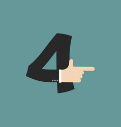 Number 4 letter businessman hand font it shows vector