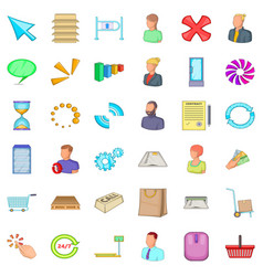 One business icons set cartoon style vector