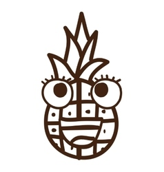 Pineapple fruit character cute icon vector
