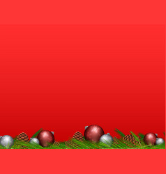 Pinecone and christmas balls on red background vector