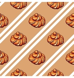 Poppy seed buns seamless pattern vector